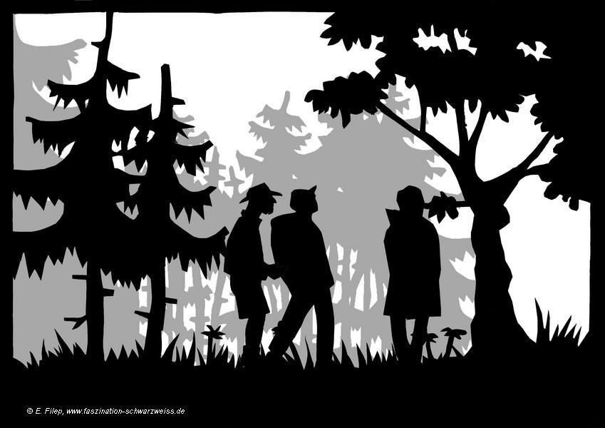 Wald Scherenschnitt